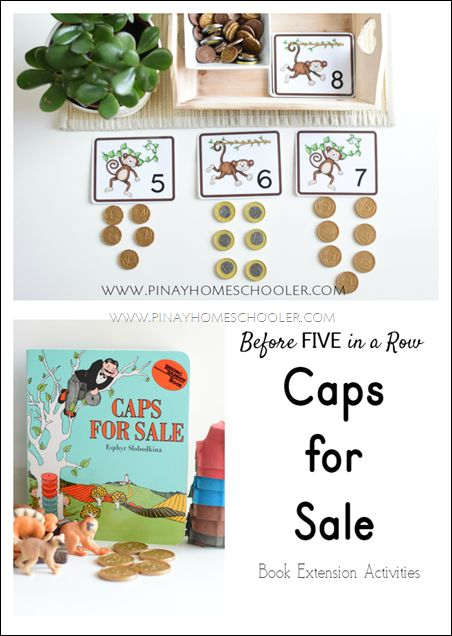 caps for sale extension activities  #preschool #homeschool #capsforsale #beforefiar #fiveinarow