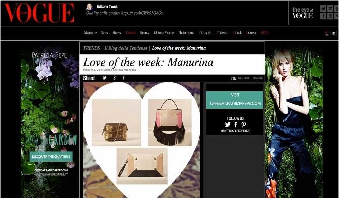 VOGUE MAGAZINE talks about MANURINA! Discover the new Fall/winter collection at WWW.FINAEST.COM | #vogue #press #fashioniconic #shopping #finaest #bestonlineshop #manuelarinaldi #accessories #luxury #brandnew #fallwinter #newcollection #bags #studs #magazione