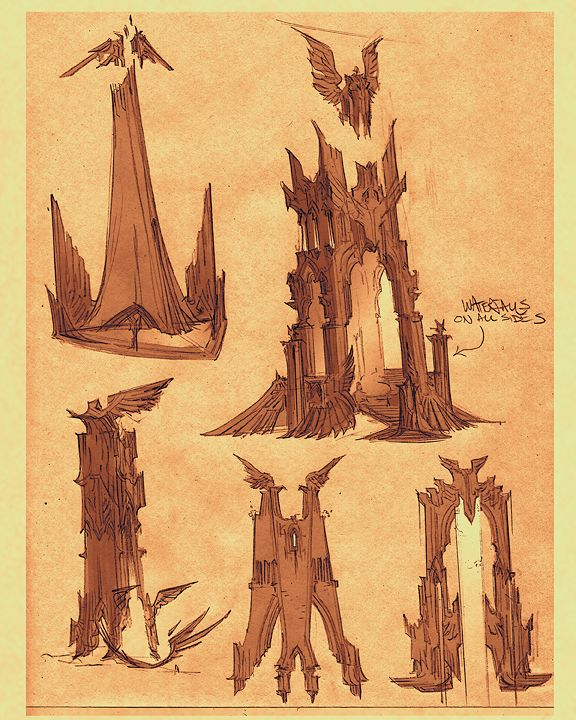 Concept art from Darksiders 1 and 2.