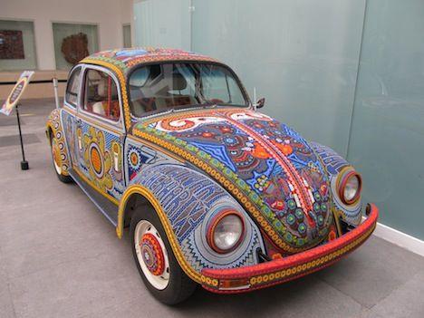 el vochol : the vw art car covered in 20000 beads - Mexican folk art
