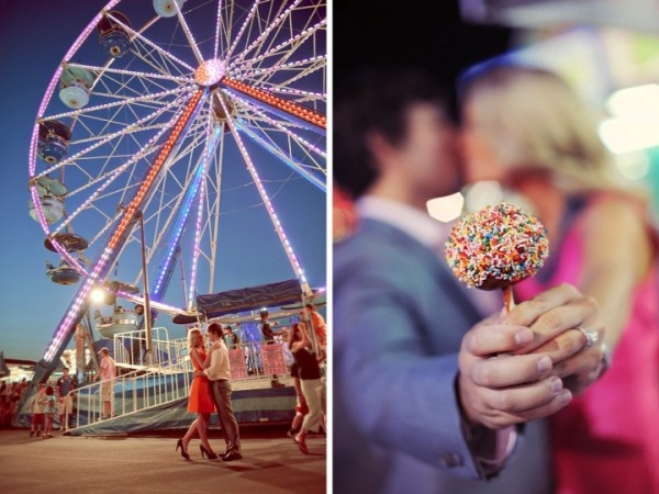 Carnival fair engagement photos - you could have these taken with Betty & Tito!