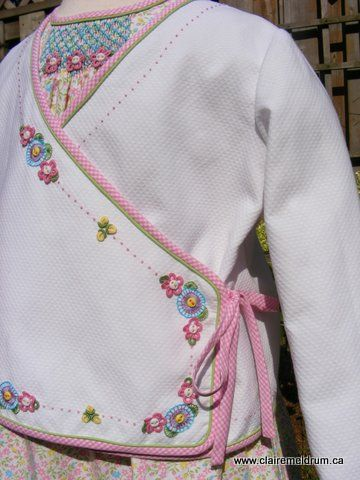 Farmhouse dress and embroidered wrap coat; Gail Doane design
