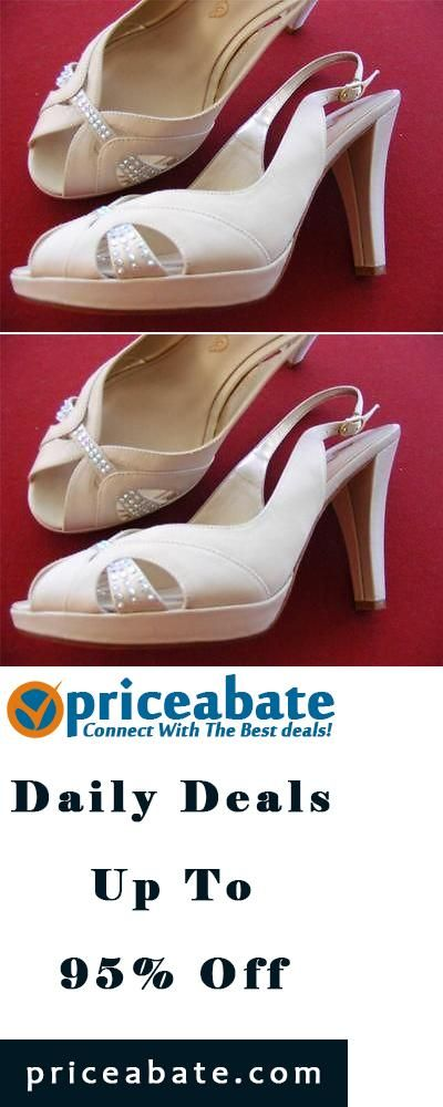 #Priceabate $98 Nina Bridal Wedding Special Occasion Shoes Beige Slingbacks w/Rhinestones 9M - Buy This Item Now For Only: $32.3