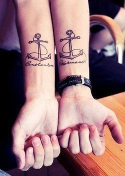 anchor tattoo cute couples tattoo . You could say we will never