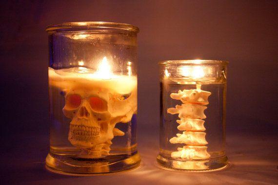 lighting skull & back bone in jar candle