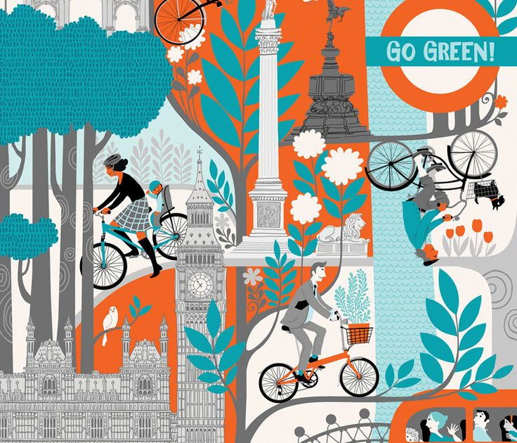 Go Green! Galia Bernstein's limited edition print depicts an idealised London as a paradise for cyclists.