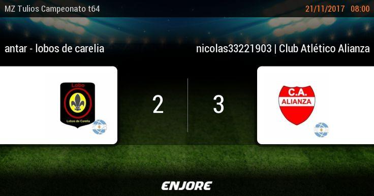 MZ Tulios Liga t64 - 18° jornada | antar - lobos de carelia 2 - 3 nicolas33221903 | Club Atlético Alianza https://www.enjore.com/es/match/6138783/antar-lobos-de-carelia-nicolas33221903-club-atletico-alianza/