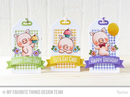 Handmade tags from Torico featuring Birdie Brown Hog Heaven stamp set and DIe-namics, Lisa Johnson Designs Celebrate with Cake stamp…