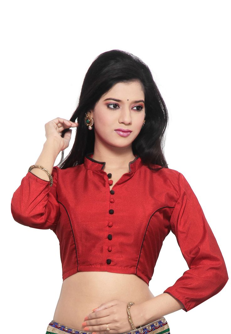 Red Art Raw Silk Blouse