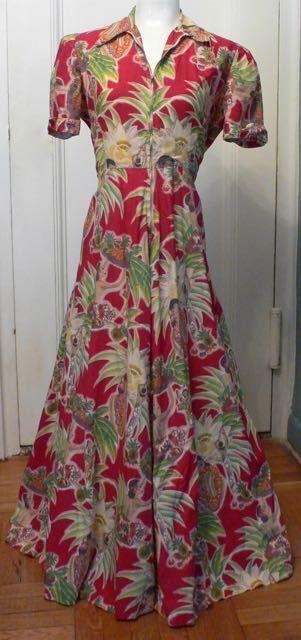 VINTAGE 40s HAWAIIAN DRESS GOWN Zipper Hula Dancers Tiki Novelty Print MINT  #Hawaiian #Hawaiian