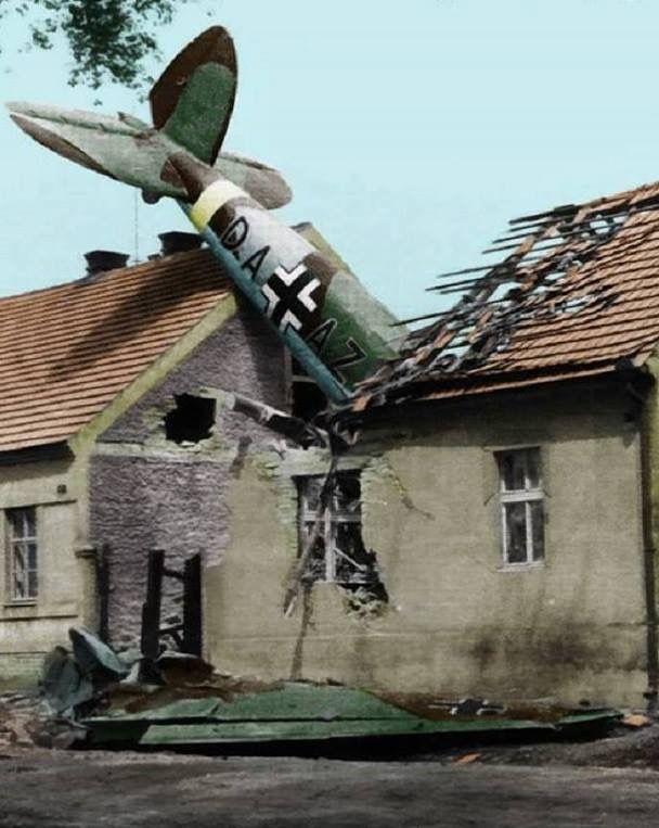 Looks like a he 111 crashed into a house
