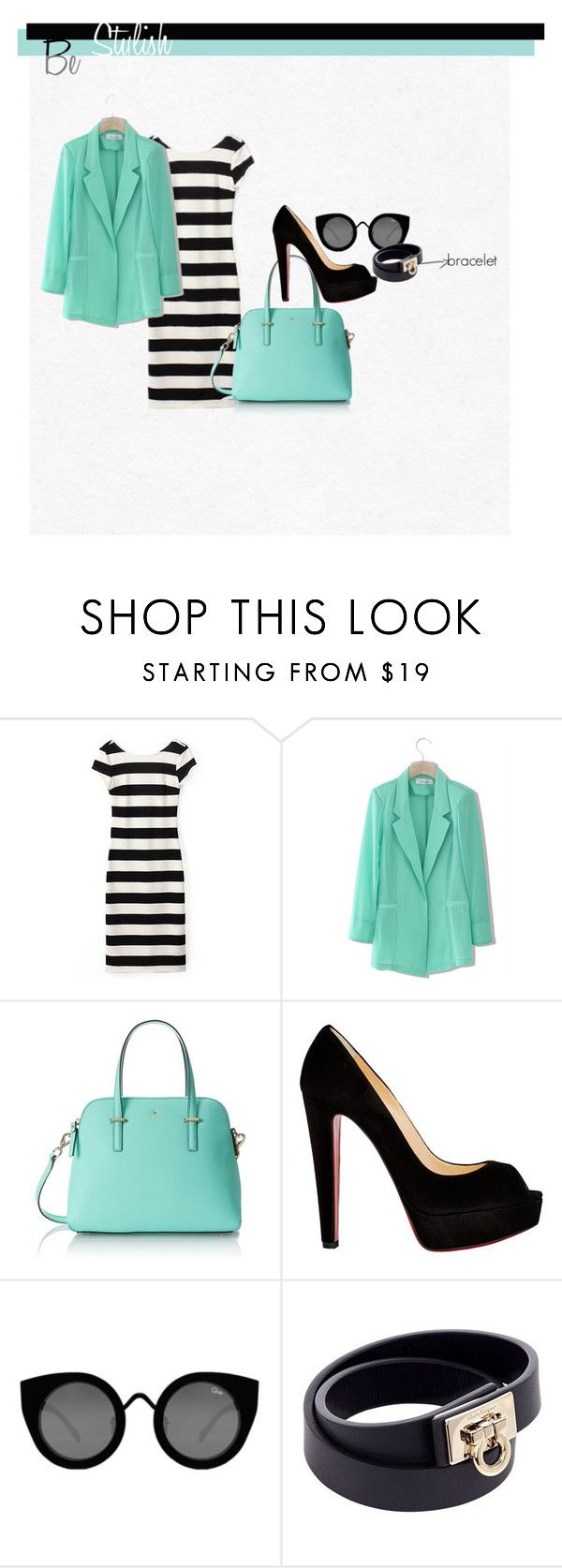 """stripe 3"" by ajriyaf on Polyvore featuring Chicwish, Kate Spade, Christian Louboutin, Quay and Salvatore Ferragamo"