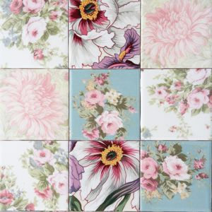 Decoupage fabric onto tile