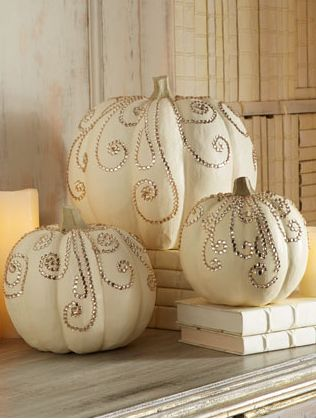 Jeweled pumpkins for Thanksgiving decor! Can use pink jewels for Breast Cancer Awareness: