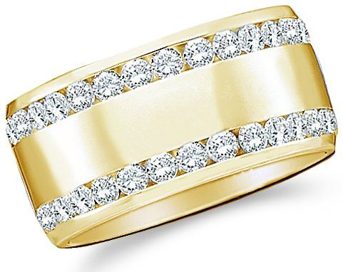 Yellow OR White Gold Round Cut Diamond Two Row Ladies Womens Channel Set Wide Wedding or Anniversary Ring