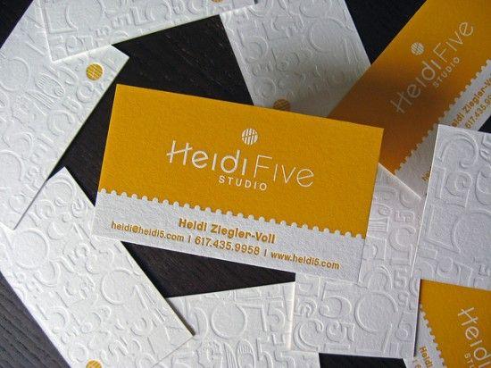 Yellow-White-Letterpress-Business-Card