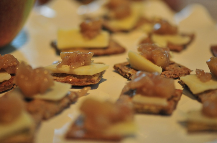 Apple Onion Compote with Old Cheddar atop Flax Crackers by Professional Home Economist