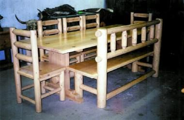 Gorgeous Rustic Southwestern Lodgepole Pine Dining Room Set. Furniture Grade Dry Hand Peeled Pole are used for the Chairs and the Pine pole Bench. Custom Milled Pine Boards are used