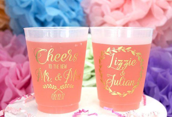 Givré de gobelet plastique personnalisé mariage fête tasses