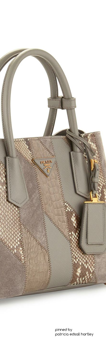 Prada	 Python & Crocodile Patchwork Small Tote Bag