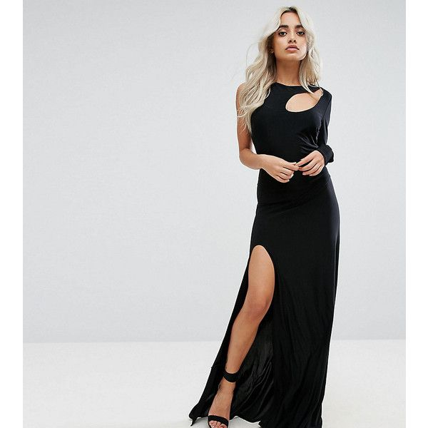 City Goddess Petite Spliced Maxi Dress With Thigh Split ($61) ❤ liked on Polyvore featuring dresses, black, petite, tall maxi dresses, petite length maxi dresses, cut-out maxi dresses, asymmetrical cut out dress and cut out dresses
