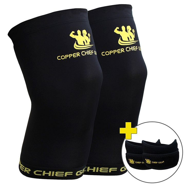 Copper Knee Sleeves (1 Pair) with FREE Patella Knee Braces (1 Pair) - GUARANTEED Best Copper Infused Fit - Compression and Recovery Sleeves - Both Men and Women - by Copper Chief Gear >> For more information, visit now : Christmas Gifts