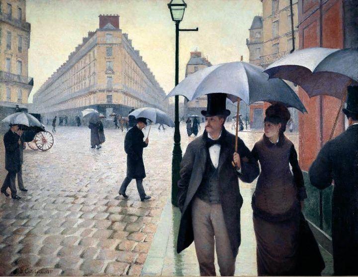 "Gustave Caillebotte, ""Paris Street, Rainy Day"" (1877), oil on canvas, 212 x 276 cm, Art Institute, Chicago"