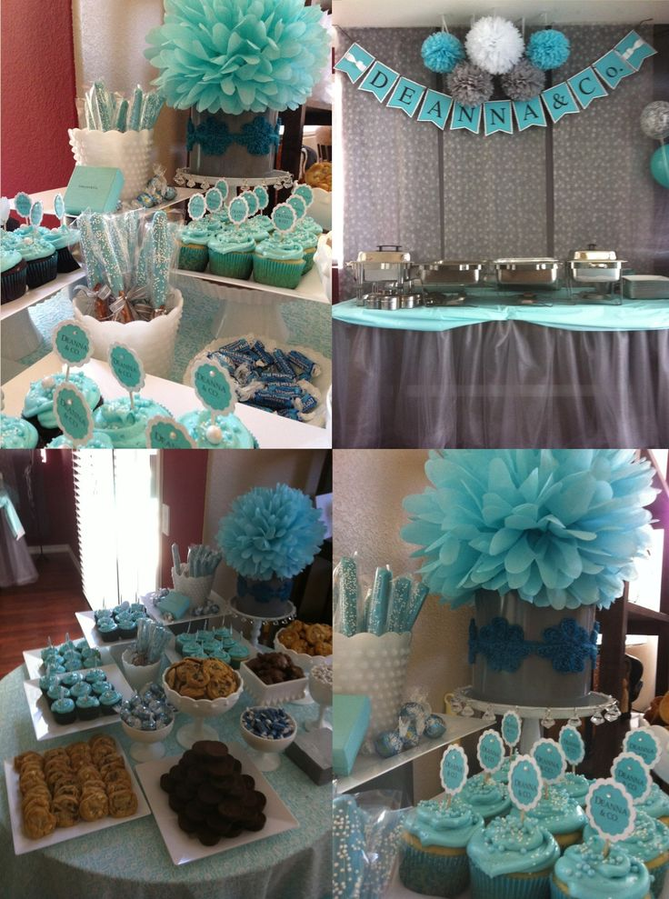 Tiffany blue and grey baby shower