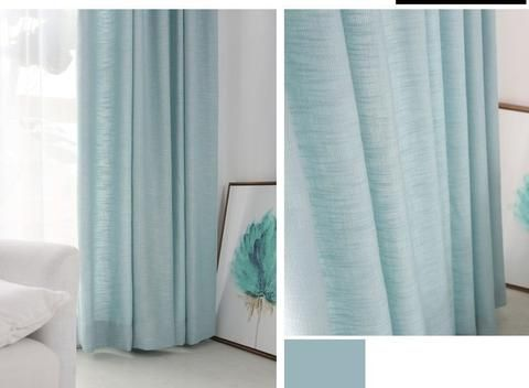 Burlap Curtains in Chalk Blue for living room and bedroom