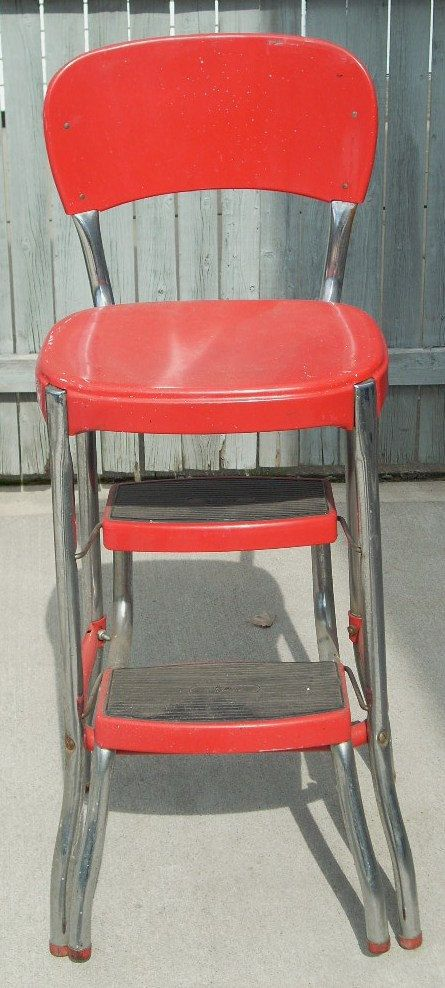 Mid Century Fifties Chrome And Red Stylair Metal Chair