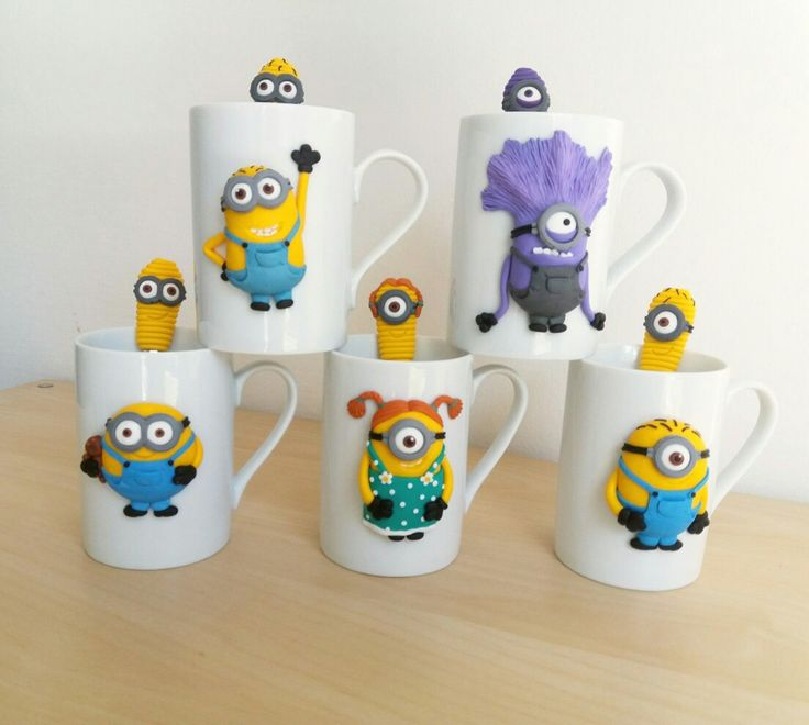 My new polymer clay Minion mugs