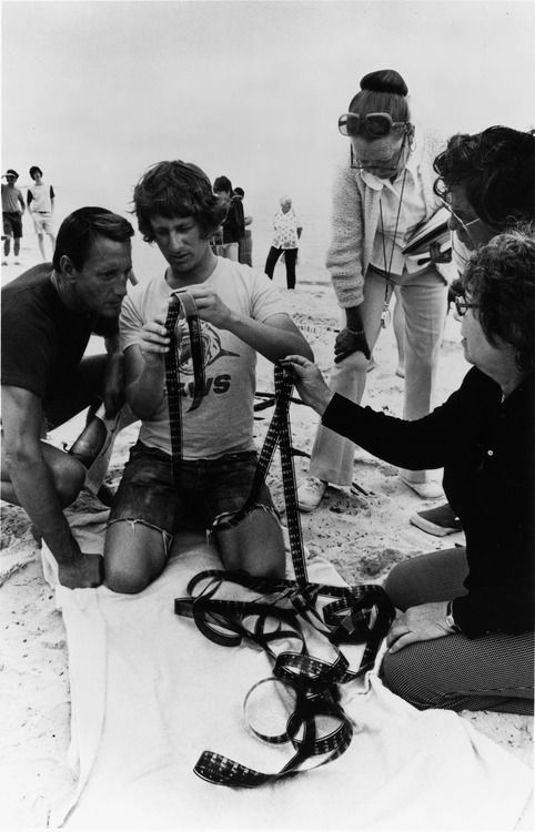 Steven Spielberg on the set of 'Jaws', 1975.