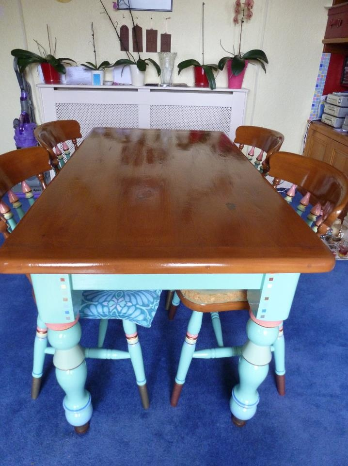 Dining room table and chairs, that I painted and varnished myself...
