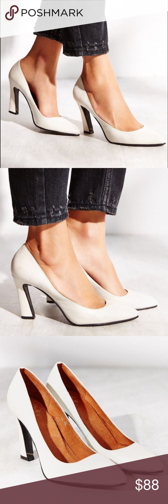 Kobe Husk White Titan Leather Heels Modern and chic, the classic heel reimagined in a fashion forward silhouette by quality shoe label Kobe Husk. Pebbled white leather upper. Like new condition. Size 38 fits like a 7.5. Originally bought from Urban Outfitters. Urban Outfitters Shoes Heels
