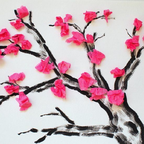 Sick of winter?  Bring some spring happiness into your kids' life with this pretty cherry blossom craft. (Tree printable included)