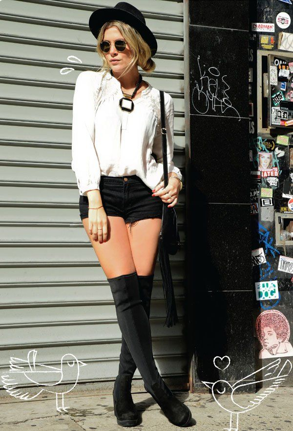 julia-faria-short-preto-camisa-branca-chapeu-over-the-knee