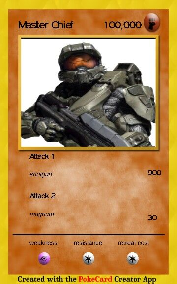 Master Chief pokemon card on poke card creator