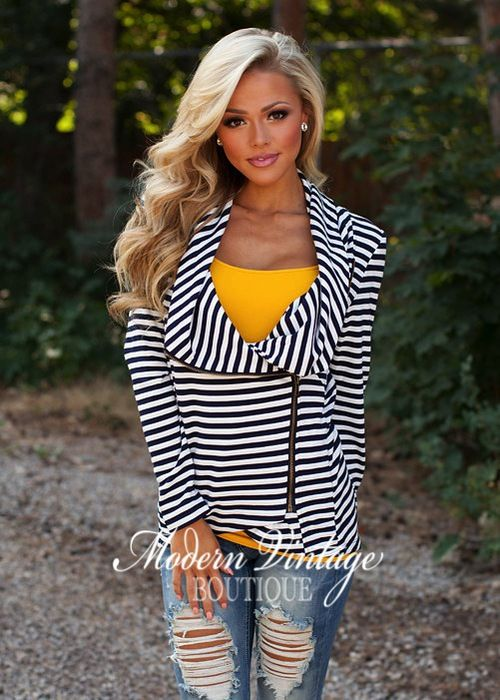 Cyber Monday Completely Cozy Navy Striped Jacket - Modern Vintage Boutique