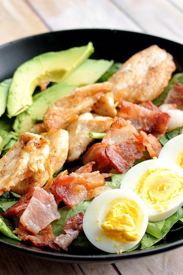 The easiest, quickest Cobb Salad recipe you'll find! Perfect for a low carb lunch to pack on the go or even a healthy dinner - it's filling, keto, paleo & gluten free all in one!