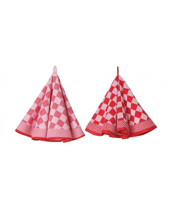 """""""Jorzolino Pompdoek rood, rond  Dit keukenset van Jorzolino bestaat uit twee ronde doeken en hebben de ophanglus in het midden waardoor deze set al op een hoogte van 37,5 cm. vrij van de grond hangt. Het voordeel hiervan is dat behalve dit set erg praktisch is in de keuken, ook heel handig is in kleine ruimtes zoals op de boot, in de caravan of de camper. En zeker ook leuk om cadeau te geven.""""…"""