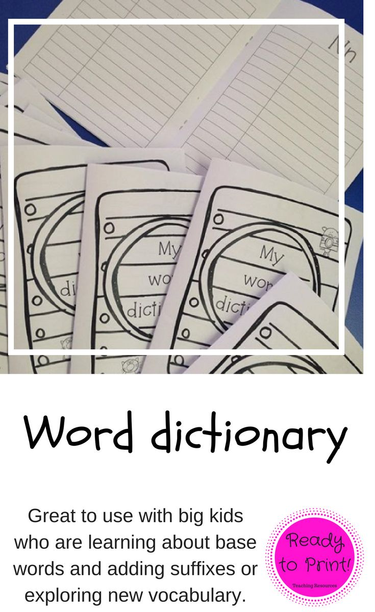 Students find it useful to have their own word dictionary and this one is perfect! It is designed to be used in several ways during spelling or vocabulary lessons. Spelling: Write the spelling word on the left and if it has a base word, that goes on the right. Students can then add more words with different suffixes. Vocabulary: Write the word on the left and write its meaning on the right.