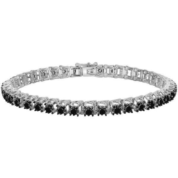 Sterling Silver 3-ct. T.W. Black Diamond Tennis Bracelet ($340) ❤ liked on Polyvore featuring jewelry, bracelets, black, black diamond jewelry, black diamond tennis bracelet, sterling silver bangles, facet jewelry and tennis bracelet