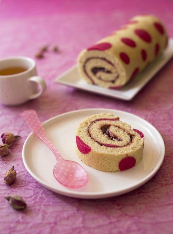 Photo recette Gâteau roulé très girly à la confiture de fraise
