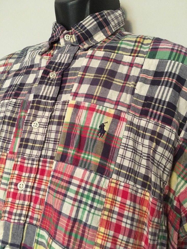 Polo Ralph Lauren Madras Shirt Large Plaid Short Sleeve Button Patchwork Blake  #PoloRalphLauren #ButtonFront
