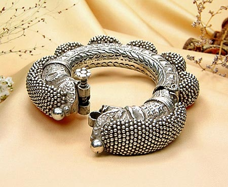 Heavy Silver Beaded Indian Tribal Bracelet – Antique Collectible Jewelry from JeGem.com