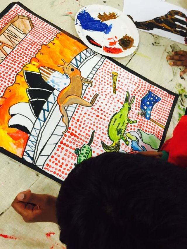 One of our little artists hard at work!!