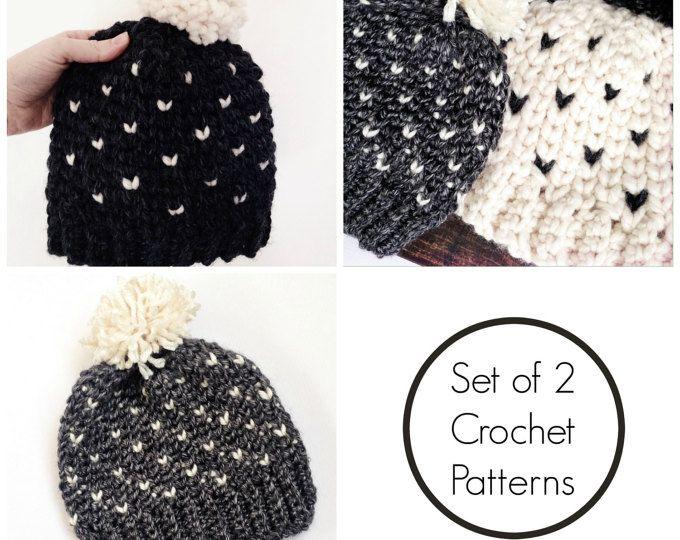 easy crochet pattern, crochet pattern bundle, crochet hat tutorial, tapestry crochet, crochet fair isle, intermediate crochet, crochet hat