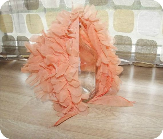 Reserved for Patti thru 3/27/14- Vintage 50s 60s 3D Ruffled Flowers Head Scarf Kerchief Orange Sheer Nylon Chiffon Bonnet