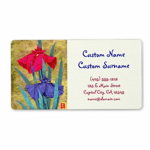 Irises oriental abstract flowers painting iris art Avery Print-to-the-Edge Shipping Labels