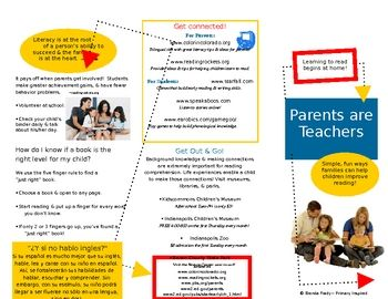 Parents are Teachers Family Literacy Brochure in WORD - parent night